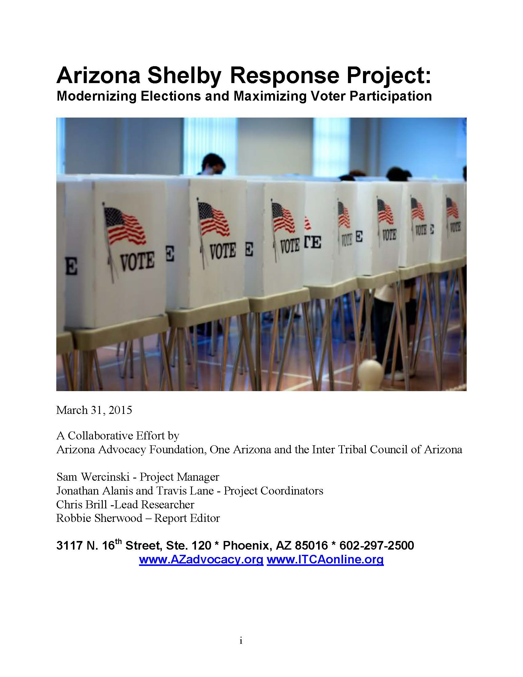 Arizona Shelby Response Project: Modernizing Elections and Maximizing Voter Participation