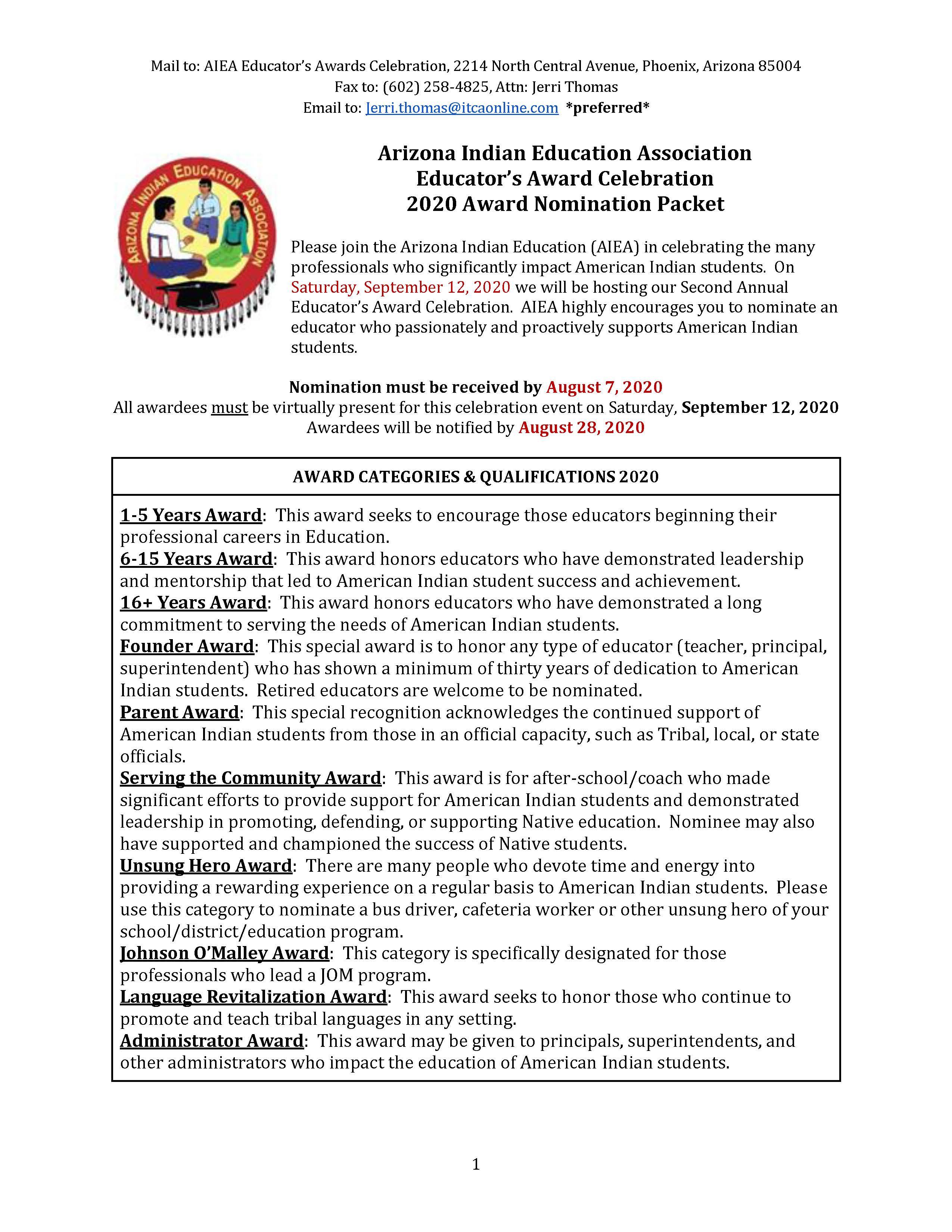 AIEA Award Nomination Packet