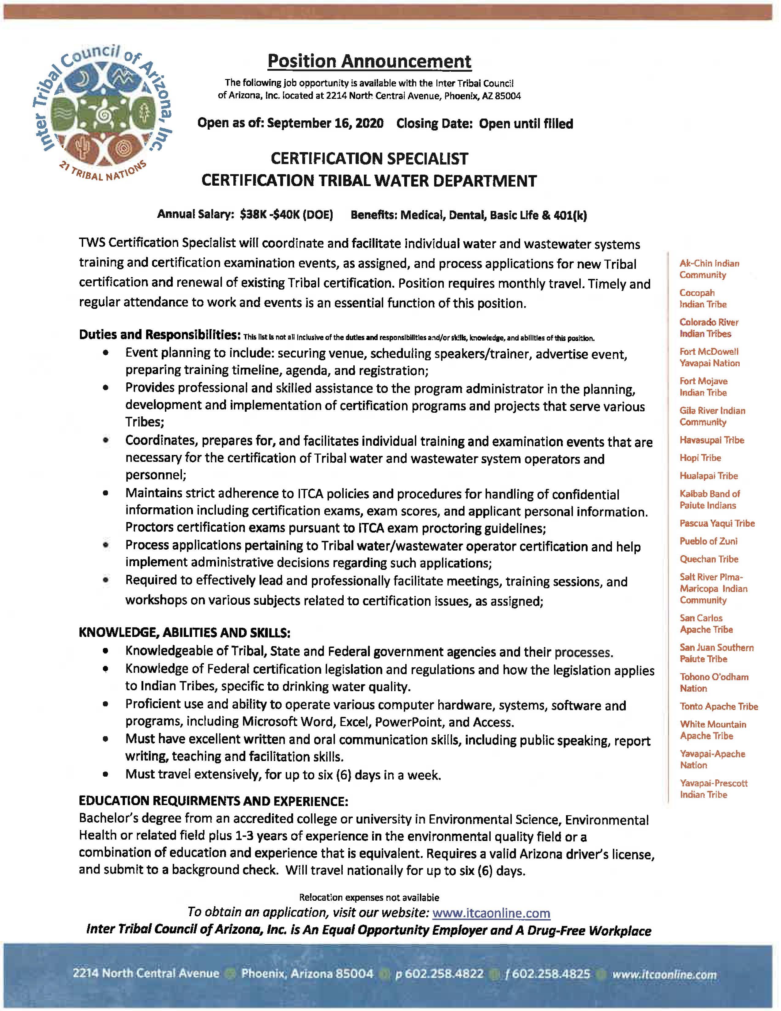 Certification Specialist - Tribal Water Department Job Posting