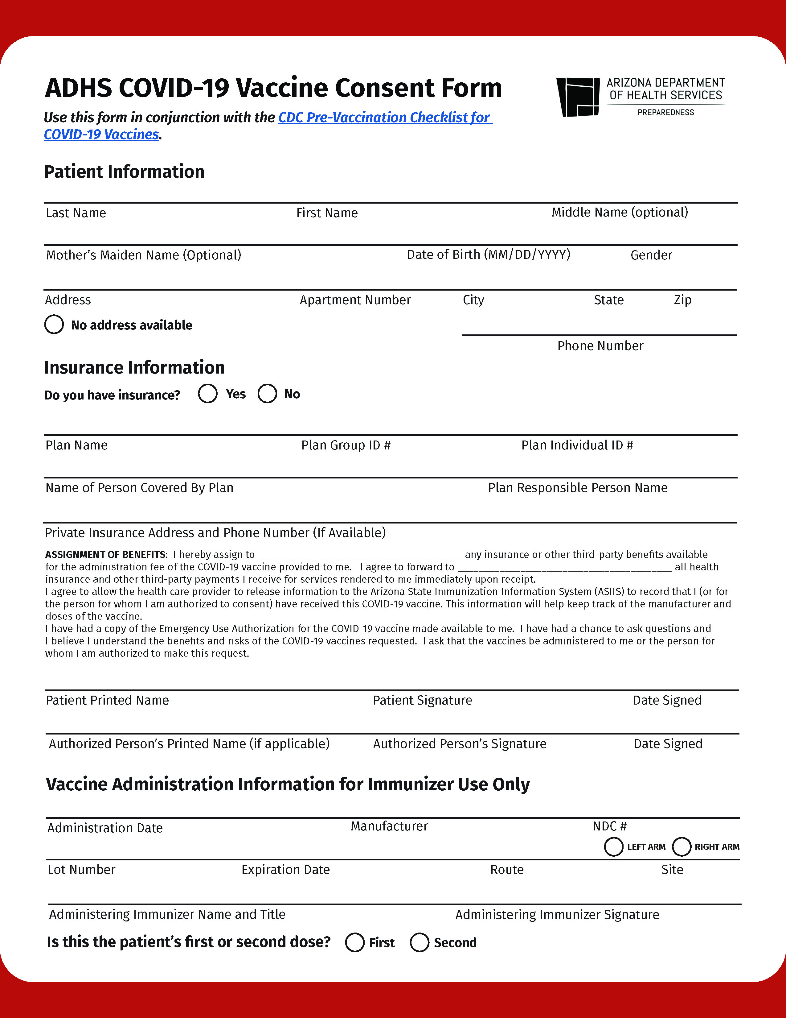 ADHS COVID-19 Vaccine Consent Form