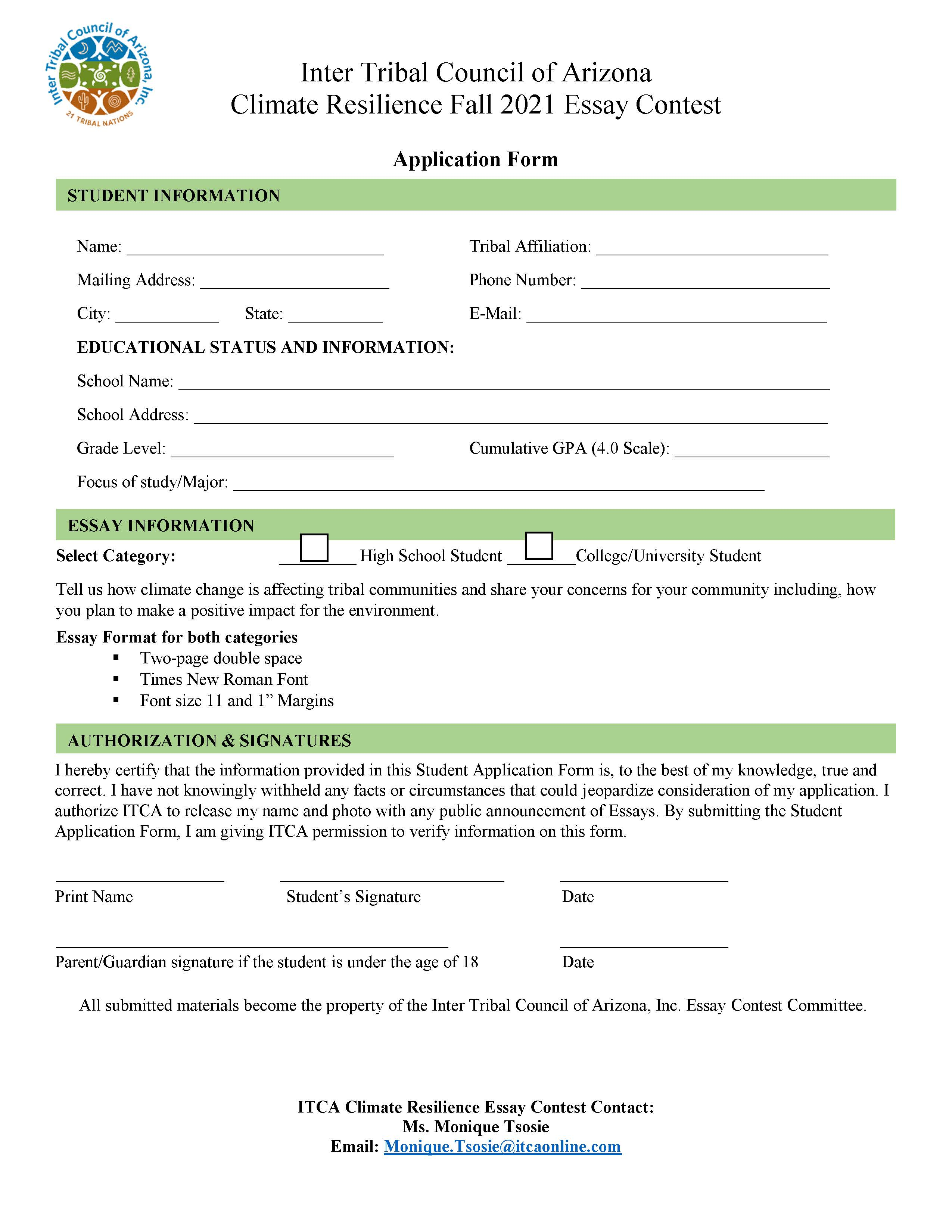 Climate Resilience Fall 2021 Essay Contest Application