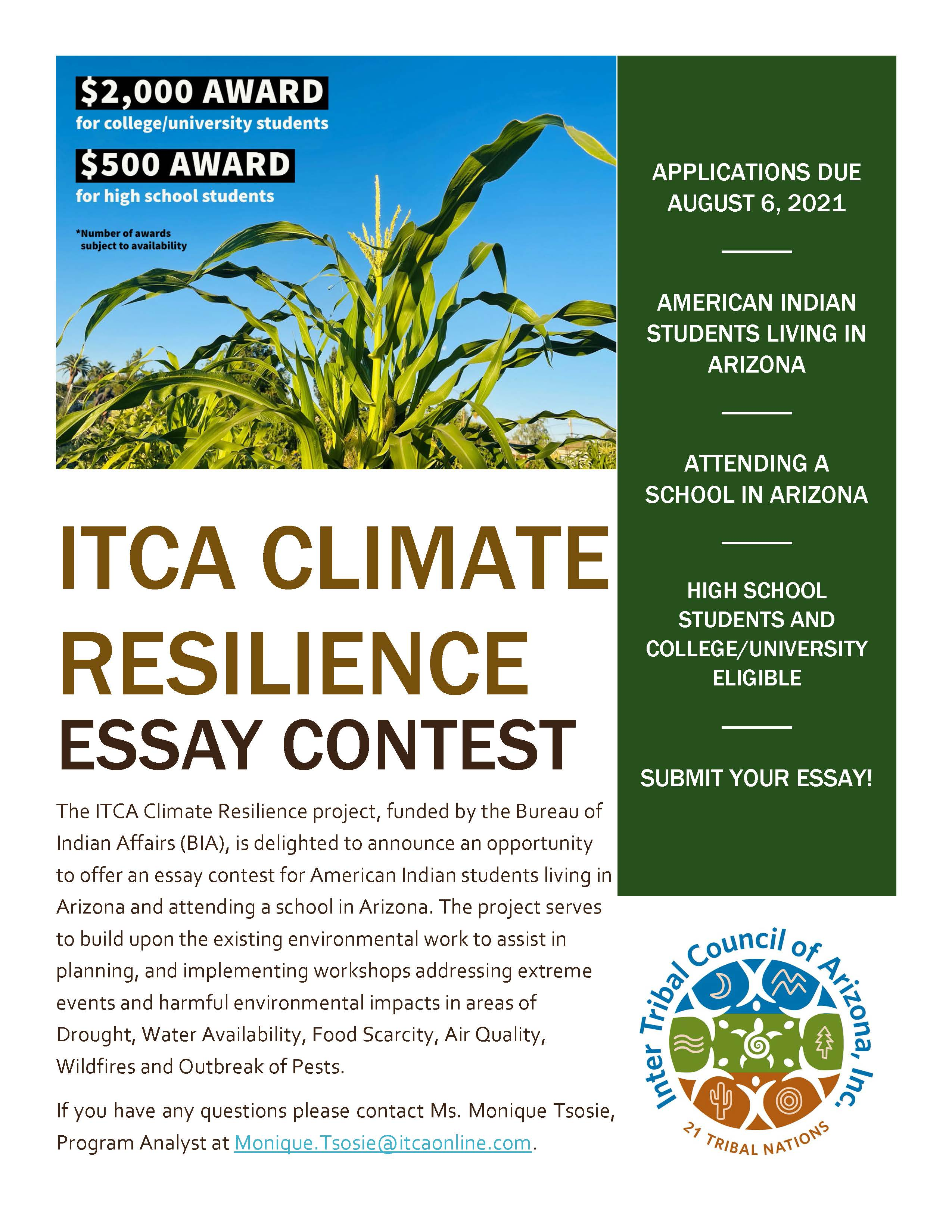Climate Resilience Fall 2021 Essay Contest Announcement