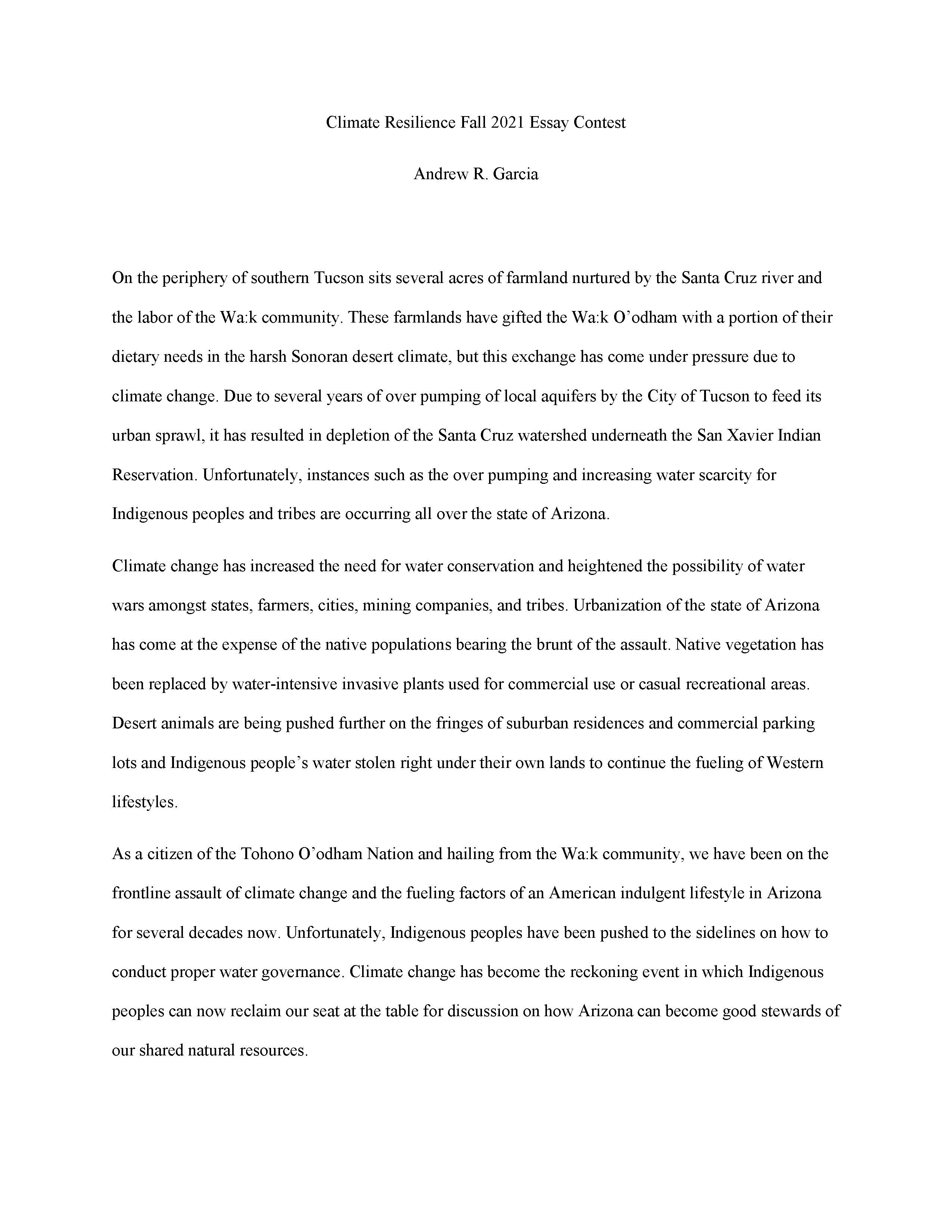 Andrew Garcia Winning Essay