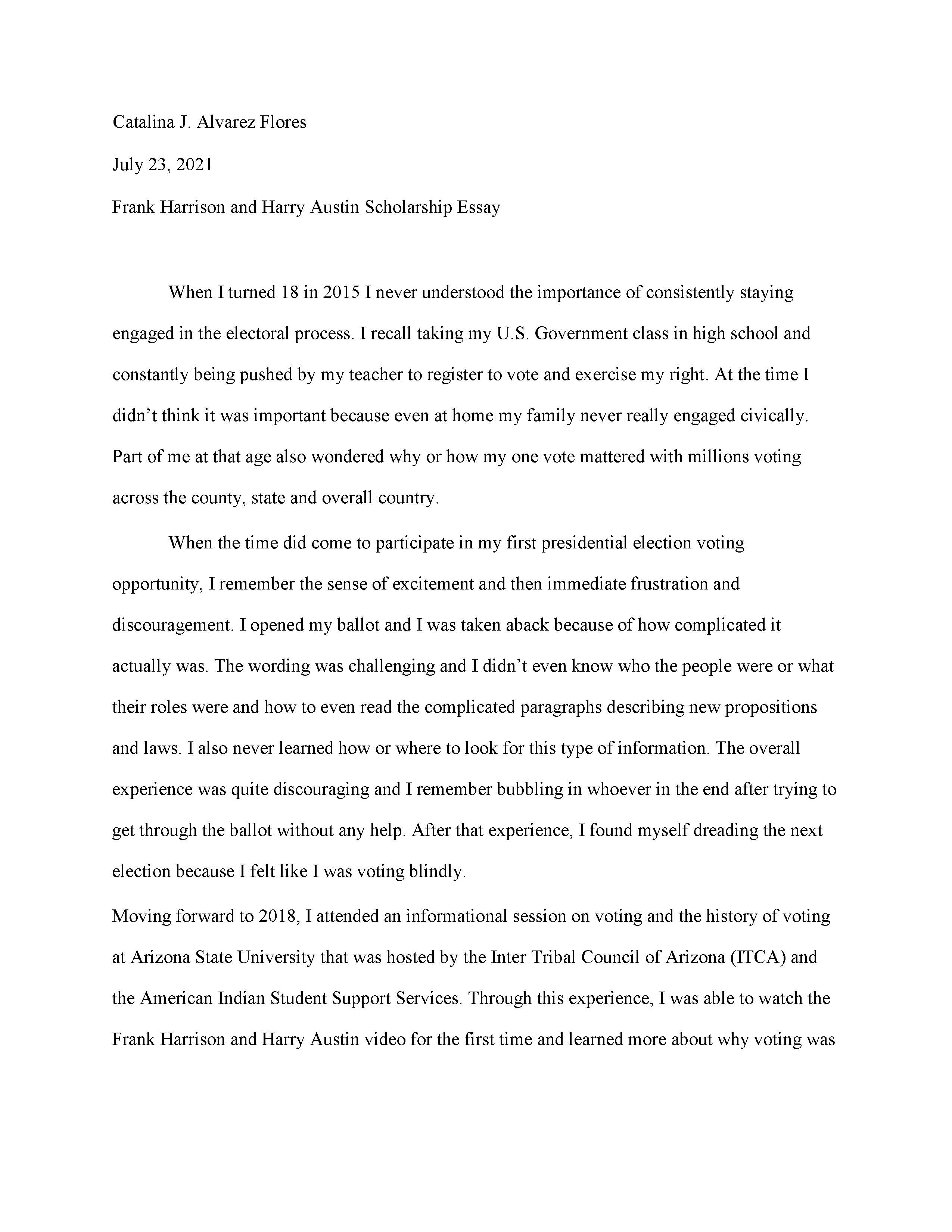 Catalina Alvarez-Flores Essay